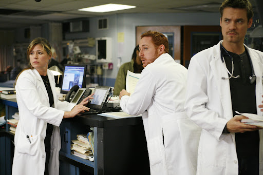 Maura Tierney is Dr Abby Lockhart, Scott Grimes is Dr Archie Morris and Shane West is Dr Ray Barnett [ER Season 13]